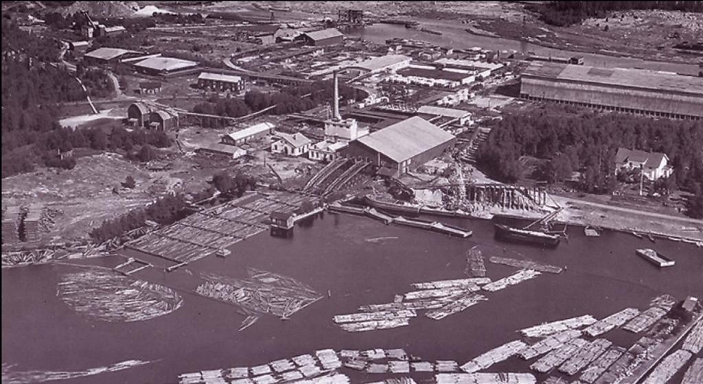 Bure såg och träsliperi vid mitten av 1900-talet. Foto: Skellefteå museum
