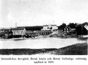 Strömsholms herrgård, Bureå kvarn och finbladiga vattensåg uppförd 1843