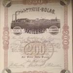 Aktiebrev från 1891